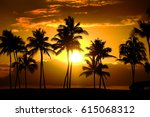 tropical palm trees silhouette... | Shutterstock . vector #615068312