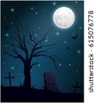 halloween night on graveyard... | Shutterstock .eps vector #615076778