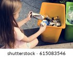 little kids separating recycle... | Shutterstock . vector #615083546