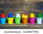 Easter Eggs In Colored Buckets...