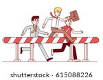 leading businessmen hurdling.... | Shutterstock .eps vector #615088226