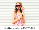 fashion portrait happy young... | Shutterstock . vector #615090365