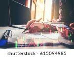 double exposure business man...   Shutterstock . vector #615094985
