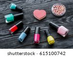 set of decorative cosmetics on... | Shutterstock . vector #615100742