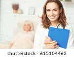 qualified young therapist... | Shutterstock . vector #615104462