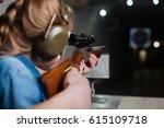 nice pleasant girl developing... | Shutterstock . vector #615109718