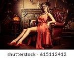 charming elegant woman in...   Shutterstock . vector #615112412