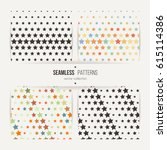 collection of star patterns.... | Shutterstock .eps vector #615114386