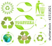 9 different recycling sign ... | Shutterstock .eps vector #61511821