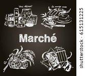 fresh foods on blackboard.... | Shutterstock .eps vector #615131225