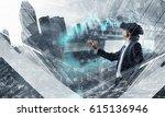 man in virtual helmet . mixed... | Shutterstock . vector #615136946