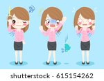 cute cartoon businesswoman with ... | Shutterstock .eps vector #615154262