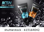 face wash for men contained in... | Shutterstock .eps vector #615164042