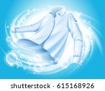 white shirt washed and spun in... | Shutterstock .eps vector #615168926