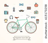 bike and icon hypster trendy... | Shutterstock .eps vector #615173258
