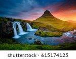 the kirkjufell volcano the... | Shutterstock . vector #615174125