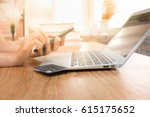 Small photo of Asian woman hand holding touch and looking at smart phone with laptop, Technology Online shopping and Security Authorization Access code background concept