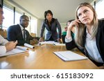 daydreaming business woman at... | Shutterstock . vector #615183092