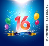 16th anniversary with balloon ... | Shutterstock .eps vector #615183752