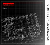 architecture grid blueprint... | Shutterstock .eps vector #615184016