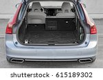 luxury car boot with folded... | Shutterstock . vector #615189302