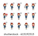 set of chibi woman characters... | Shutterstock .eps vector #615192515