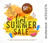 creative summer sale banner or... | Shutterstock .eps vector #615212276