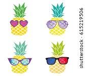 pineapple glasses set   vector...   Shutterstock .eps vector #615219506
