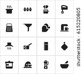 set of 16 editable food icons.... | Shutterstock .eps vector #615220805