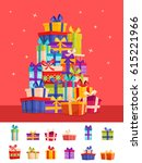 colorful poster with big pile... | Shutterstock .eps vector #615221966
