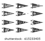 hand drawn adventure pennants... | Shutterstock .eps vector #615233405