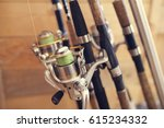 spinning in a wooden house | Shutterstock . vector #615234332