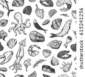 vector seafood  hand drawn... | Shutterstock .eps vector #615241256
