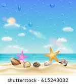 sea shell and starfish  on a... | Shutterstock .eps vector #615243032