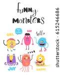funny monsters. vector set. | Shutterstock .eps vector #615246686