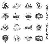 travel black  monochrome badges ... | Shutterstock .eps vector #615246866