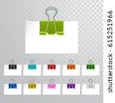 set of multicolored binder... | Shutterstock .eps vector #615251966