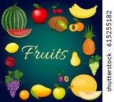 set of colorful cartoon fruit.... | Shutterstock .eps vector #615255182