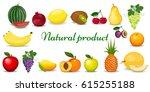 set of colorful cartoon fruit.... | Shutterstock .eps vector #615255188