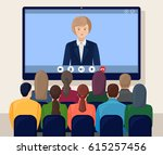 video conference. business... | Shutterstock .eps vector #615257456