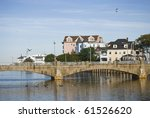 A view of the footbridge over the lake in Asbury Park, New Jersey. - stock photo