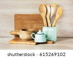 turquoise and wooden vintage... | Shutterstock . vector #615269102