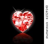 Raster version Illustration of Red Diamond Heart. Illustrator 10 and newer. - stock photo