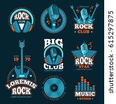 vintage music studio production ... | Shutterstock .eps vector #615297875