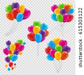 set  bunches and groups of... | Shutterstock .eps vector #615303122