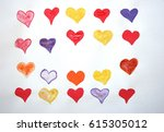 hearts in different colors.... | Shutterstock . vector #615305012