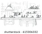 kitchen sink. kitchen worktop... | Shutterstock .eps vector #615306332