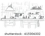 kitchen sink. kitchen worktop... | Shutterstock .eps vector #615306332