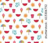 summer time vector seamless... | Shutterstock .eps vector #615306752