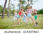 group of children holding hands ... | Shutterstock . vector #615307862